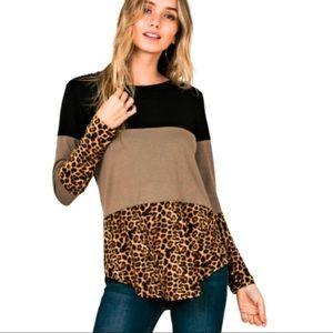 Colour Block Leopard Print Long Sleeve Top